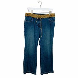 Loft Cottagecore Wide Leg Faux Suede Waist Jeans